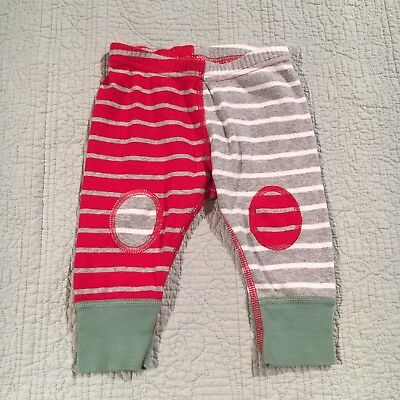 Hanna Andersson 60 6m Green Red Striped Organic Cotton Pants Christmas Patch
