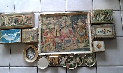 lot of 11 ItalyFlorentine boxes, picture, tray, coasters