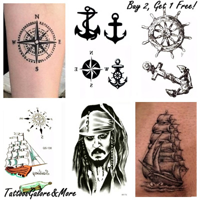 Sailor Halloween Fancy Dress Temporary Tattoo, Anchor, Pirate, Compass, Costume