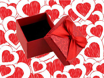 * NEW * ( RED )  Joblot Bow And Heart Gift Ring Box  (Pack Of  23)