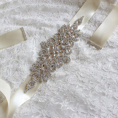 Handmade Crystals Diamond Rhinestone Bride Wedding Sash Belt KW
