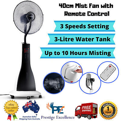 Portable Misting Fan Pedestal Remote Water Cool Mist Touch Panel Timer 40cm Tall