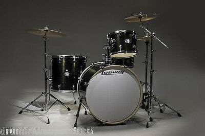 Ludwig Element Icon 4pc Drum Set with Hardware Black Gold Sparkle LCF42R016 NEW