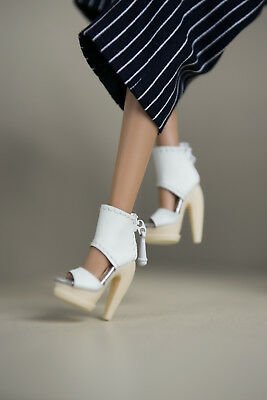 "SHANTOMMO's Ankle Peep-toe Shoe (WHITE) for 12"" Fashion Royalty/NuFace Dolls"
