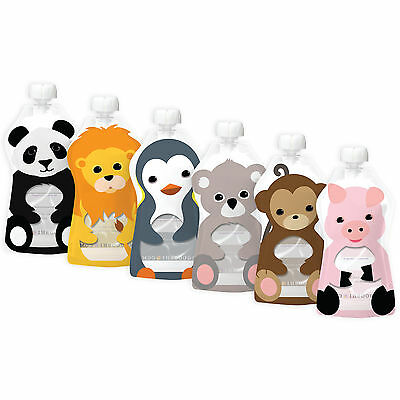 Squooshi Reuable Pouches Large Animal 6 Pack 6 oz  SUPER DEAL !