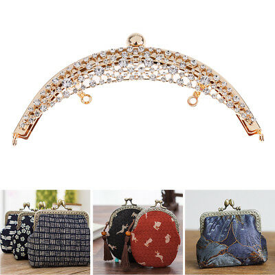 DIY Purse Handbag Handle Coin Bags Metal Kiss Clasp Lock Flower Frame 19cm