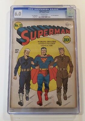 Superman #12 DC 1941 CGC 6.0 Golden Age Lex Luther appearance AMAZING DEAL!!