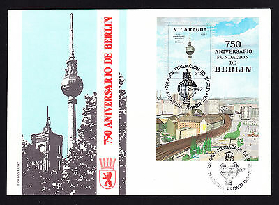 Mini Sheet stamp of Nicaragua on 1987 First Day Cover 750 Jahre Berlin German