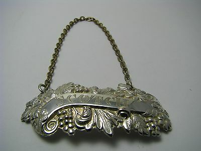 "SILVERPLATE SILVER PLATED WINE LABEL""SCOTCH""LIQUOR TAG Birmingham England c1940s"