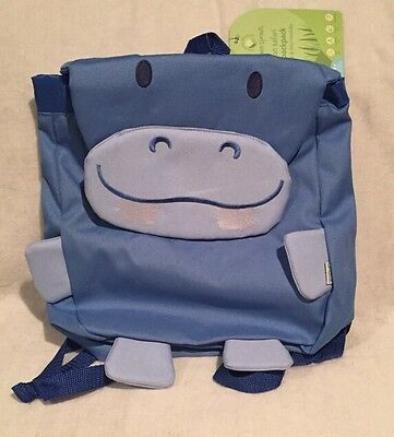 Green Sprouts Backpack, Unisex, 12 month+, Blue Hippo, NEW Free Shipping