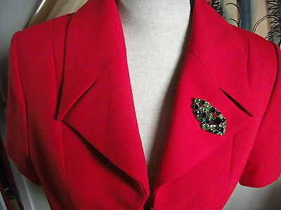 Nouritano by karess paris red vintage 1940s-1970s tailored short sleeve jacket M