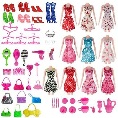 Doll Clothes Lot Party Gown Outfits And Accessories Barbie Girl Xmas Gift 120 pc