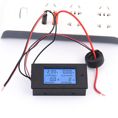 100A AC 260V LCD Digital Monitor Watt Power Energy Meter Ammeter Voltmeter Gauge
