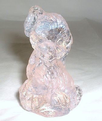 Vintage Boyd Glass SKIPPY the DOG Figurine Touch of Pink - 1 line 4-25-85