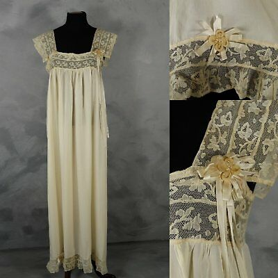 Antique Edwardian Silk Nightgown Rosettes Lace Lingerie Negligee Ribbon 1910s M