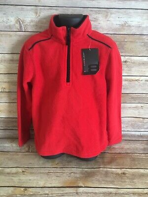 68634716c Layer 8 Fleece Pullover Jacket Size 5 Boys Red Coat NWT New 1/2 zip