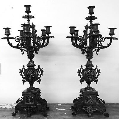Pair Of Stunning 19th Century Antique French Ornate Candelabras Candlesticks