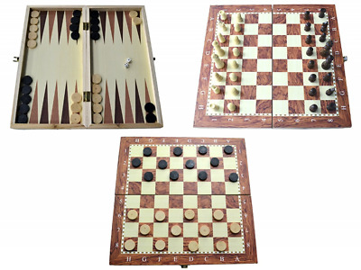 3 IN 1 Natural Wooden Folding Chess/Checkers/backgammon Game Set 34X34 CM