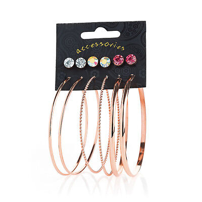 6 pairs of Rose Gold Crystal Stud & Hoop Earrings RRP £5.00 - Brand New + Tags