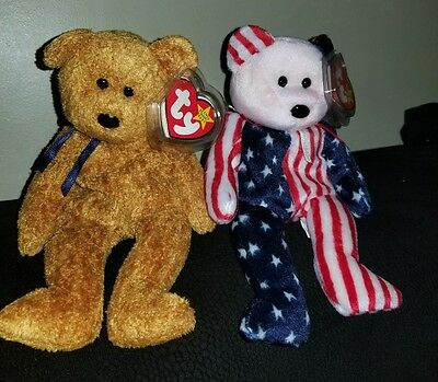 Lot of 2 Retired Beanie Babies - Bears - Fuzz and Spangle (pink face)