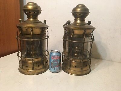 Pair Of Huge Antique Brass Nautical Boat Lanterns To Restore