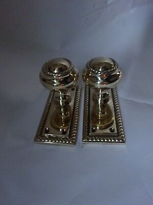 One Pair Of Solid Brass Georgian Style Reclaimed Door Handles & Back Plates
