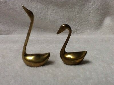"""2 Small Brass Swan Ring Holder Solid Figurines 3.75"""" - 2.5"""" Tall"""