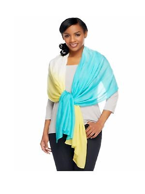 "Lisa Rinna Collection 80"" x 30"" Dip Dyed Modal Scarf, Lime/Turquoise"