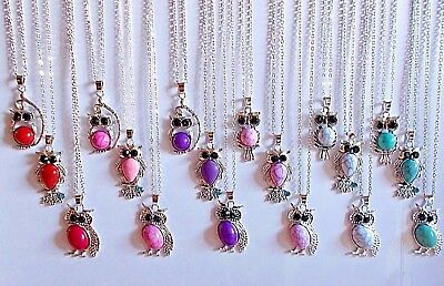 Wholesale Lot of 10 or 20 Owl Crystal Stone Silver Necklaces Unique US Seller