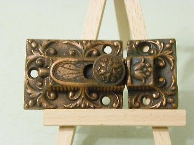 Antique Ornate Brass Plated Cupboard Door Latch