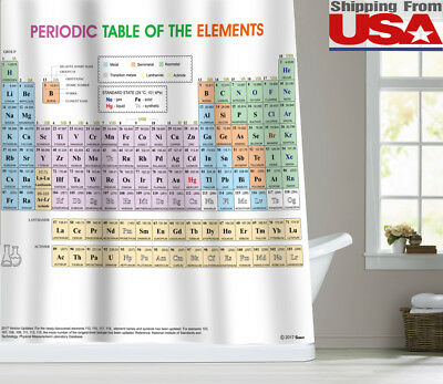"""72"""" Updated Periodic Table of Elements Fabric Shower Curtain Bathroom Decor US"""