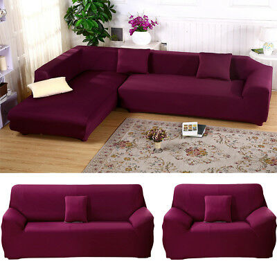 L SHAPE STRETCH Elastic Fabric Sofa Cover Sectional Corner Couch ...