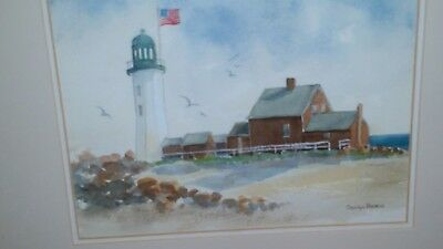 Carolyn Bearce signed Scituate, MA lighthouse original watercolor painting EC!