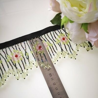 Beautiful Beaded Trim For Lampshade green colour 90 mm width