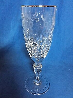 Rogaska Crystal Gallia Gold pattern tall footed iced tea glass