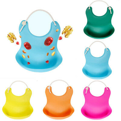 Cute Baby Soft Silicone Bib Waterproof Saliva Dripping Kid Infant Lunch Bibs