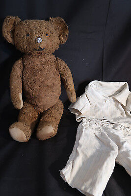 "Antique Teddy Bear Unknown Steiff?18"",glass Eyes Jointed Metal Nose+Outfit"
