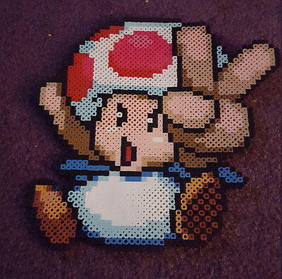 Toad Mario perler art necklace rave melty edm edc sprite hama plur kandi