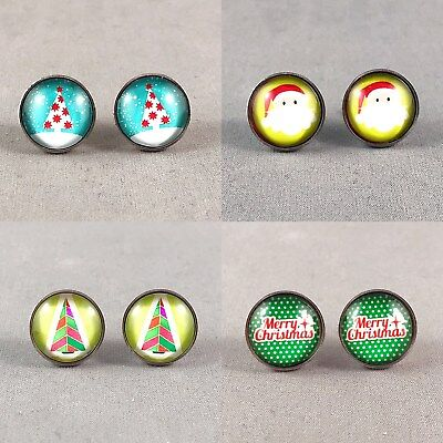 Xmas Christmas Glass Cabochon Stainless Steel Stud Earrings