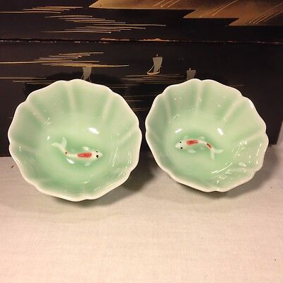 Chinese Celadon Porcelain Embossed Koi Fish Tea Cup (set of 2)