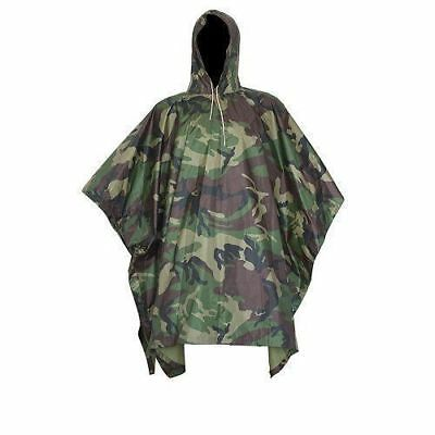 Military Woodland Camo Poncho Ripstop Wet Weather Waterproof Army Hiking Poncho
