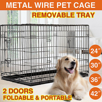 "24"" 30"" 36"" 42"" Collapsible Pet Dog Cage Folding Metal Crate Kennel With Tray"
