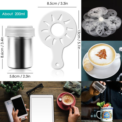 Stainless Steel Sugar Cocoa Powder Shaker 8/16 Printing Molds Stencils Latte Art