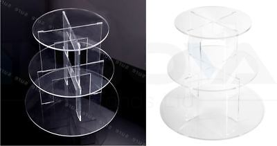 3 Tier Level Round Cupcake Stand Dessert Tower Clear Acrylic Display Cake Stand