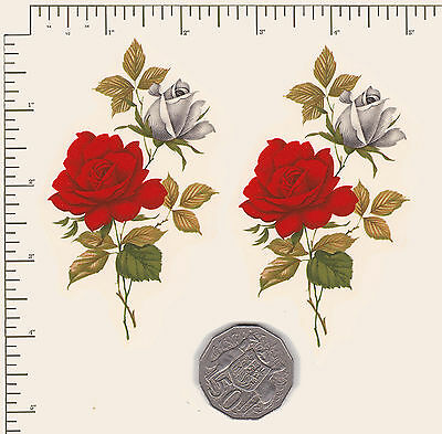 "2 x Waterslide ceramic decals Red and white roses spray Approx 4"" x 2 1/4"" PD12a"