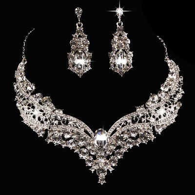 Wedding Bridal Queen Style Shiny Rhinestone Necklace Earrings Jewelry Set Nimble
