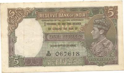 British India 5 Rupees Note Of King George