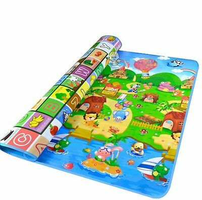 Large Crawling Educational Game 2 Side Kids Play Mat Rug Foam Picnic Carpet