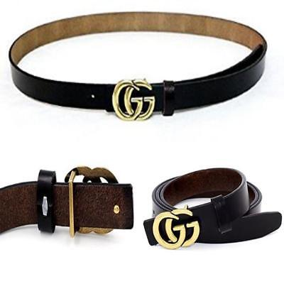 Womens Genuine Leather Fashion Thin Belts For Jeans 0.9″ Wide With Letter Buckle