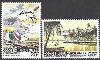 Cocos Islands 1979 CHRISTMAS(2) BOATS/BIRDS Unhinged Mint SG48-49